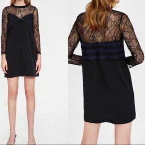 ZARA black lace contrast shift dress Size S